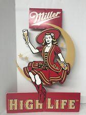 Miller High Life Girl on Moon Cardboard 3-D Mid-Century Bar Sign Vintage 26�
