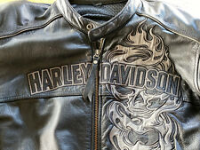 harley davidson jacke leder L (large) Mit Reflektierenden Skull Motiven