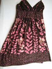 Womens Ladies Junior size Medium M Brown pink floral sundress Dress SPEECHLESS