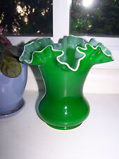 Vintage Fenton Emerald Green Cased Glass Ruffled Vase - Nice!  Excellent Cond
