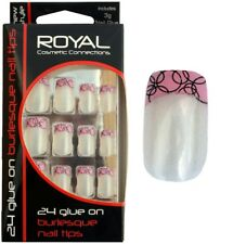 Kit de 24 faux ongles & colle french manucure rose & noir - Royal Burlesque