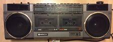 HITACHI TRK-W22E Vintage Boombox Double Cassette FM/SW/MW/LW Working lOOk!