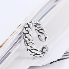 Retro Simple Men Lock Women Fashion Silver Plated Rings Opening Chain