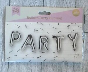 """SILVER """"PARTY"""" LETTERING BALLOON /SELF INFLATING NO HELIUM REQUIRED"""