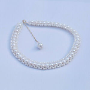 DL133 Luxury white AAA freshwater pearl necklace 36+6cm W/Pendant 10.5mm14KGF