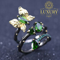 Natural Chrome Diopside 925 Sterling Silver Handmade Plant Butterfly Branch Ring