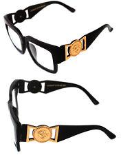 3a371a896f0 424 Medusa Gold Metal Logo Coin Horn Rimmed Clear Lens Eye Glasses Hip Hop  80 s