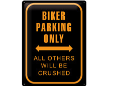 BLECHSCHILD 20381 - BIKER PARKING ONLY - 30 x 40 cm - NEU