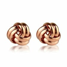 9ct Rose Gold plated on Sterling Silver Spiral Knot Stud Earrings