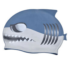 Cute Cartoon Shark Silicone Swimming Swim Bathing Cap Hat Waterproof For Kids