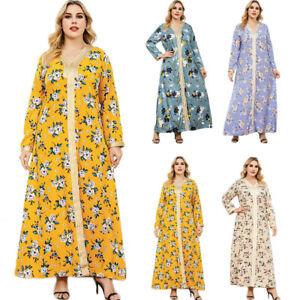 Boho Print Long Sleeve Maxi Dress Casual Abaya Muslim Womens Islamic Party Gown