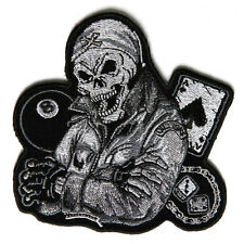 Embroidered Biker Guy Skull 8 Ball Ace Dice in Grey Iron on Sew on Biker Patch
