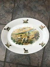 Hunting Dogs & Pheasants Large Oval Platter Dish Plate