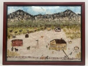 Naive Folk Art Rural Landscape Crafted with Feathers