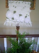 Victorian white lampshade HAND M.rose Vintage hand crochet Lace,fringe UNIQUE