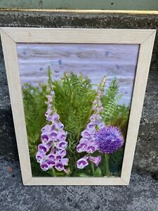 Vintage Framed Oil Painting Floral Flowers Foxgloves
