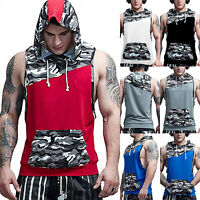 Men Camo Muscle Hoodie Tank Top Bodybuilding Gym Workout Sleeveless T-Shirt Vest