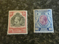 KENYA TANGANYIKA POSTAGE STAMPS SG121 & 122 5/- & 10/- VERY LIGHTLY MOUNTED MINT