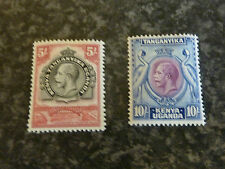 KENYA TANGANYIKA POSTAGE STAMPS SG121 & 122 5/- & 10/- 1935-7 VLMM