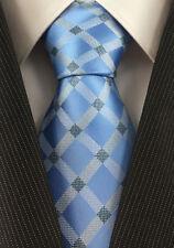 Tie Necktie Blue Checkered Classic 100% Silk Jacquard Woven Men's Ties Neckties