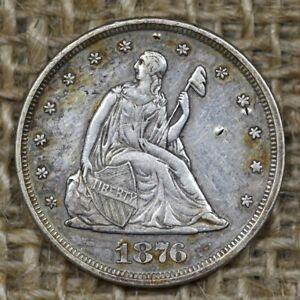 1876 20C Seated Liberty Silver Twenty Cent Piece, Low Mintage!