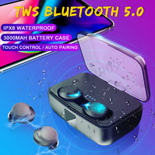 Bluetooth 5.0 TWS Stereo Earphones Mini Earbud Noise Cancelling IPX8 Gym Headset