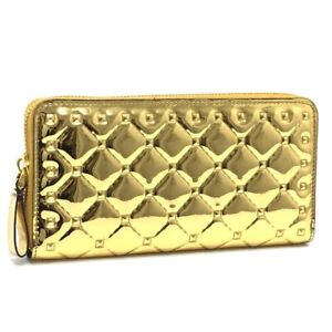 VALENTINO Embossed studs Zip Around Long Wallet (with Coin Compartment) Gold