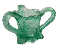 Kemple Toothpick Holder #5 Pansy Green Glass 3 Handled Footed circa 1950 Vintage