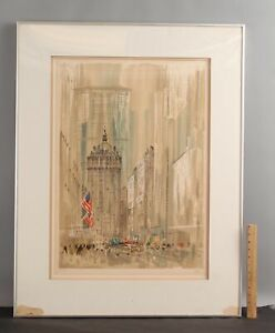 Large PIERRE PAGES Signed New York City Park Ave American Flag Lithograph Print
