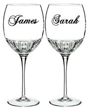 2 x personalised name wine glass / mug vinyl stickers decal wedding