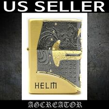 New Japan Korea Zippo lighter HELM GD gold plated emblem US SELLER