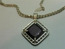 Signed Coldwater Dark Amethyst Crystal Silvertone Necklace