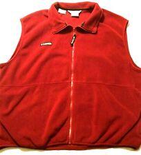 MEN'S Columbia FULL ZIP FLEECE VEST   Golf ~ Hiking ~ Red Jacket ~ Size XXL 2XL
