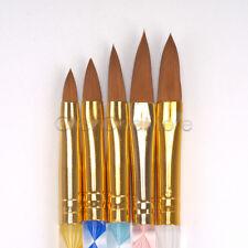 Pro 5 Pcs Round Sable Acrylic Nail Art UV GEL Brush Size 4 6 8 10 12 Set