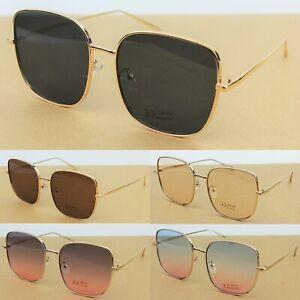 Large Square Sunglasses Metal Frame Tinted Lenses Women's Men's UV400