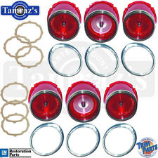 65 Impala Rear Tail Light Back Up Lamp Lens Chrome Bezel Trim Gasket 18pc USA
