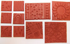 10 Unmounted Texture Rubber Stamp Grab Bag Impress Design Polymer PMC Paper Clay