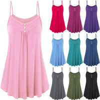 Plus Sized Womens Loose Cami Tank Tops Lady Pleated Summer Swing Vest T Shirt
