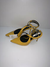 ZARA YELLOW FAUX PATENT LEATHER SLINGBACK HIGH HEEL COURT SHOES  SIZE UK 6 NEW