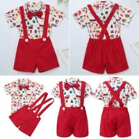 Newborn Baby Boys Romper Jumpsuit Christmas Outfit Tops Suspender Shorts Clothes