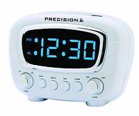 Precision Radio Controlled LED Alarm Clock Blue Display Mains Power PREC0071