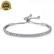 Crystal Women Cubic Zirconia Tennis Bracelet Wedding Simulated Silver