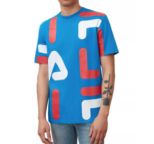 FILA Graphic T Shirt Mens Authentic Bennet Short Sleeve Jersey Cotton Tee Blue