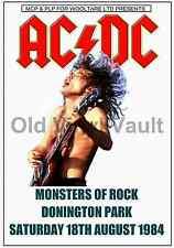 AC/DC Concert Poster Donington Park 1984 (Monsters Of Rock)  A3 size Repro