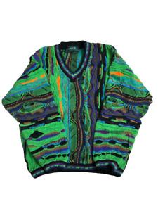 RARE Tundra Canada Bill Cosby Biggie Hip Hop Sweater L Green MultiColored 90s