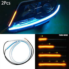 2X 60CM Dual Flexible Soft Guide Car LED Strip Blue DRL Amber Turn Signal Light