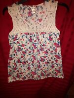 WHITE STAG Sleeveless Floral Blouse Top Women's Size SMALL