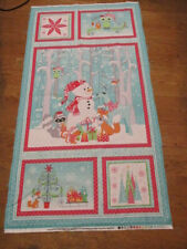 Fabric Panel - Christmas - Frosty Forest - Snowman, forest animals