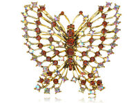 Topaz Stylish Rhinestone Gems Outline Antique Flying Butterfly Pin Brooch Gifts
