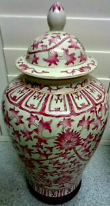 LOVELY Large PINK  VINTAGE Decorative HAND PAINTED LIDDED URN POT 17 X 11 INCH